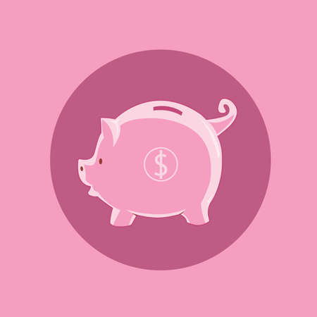 pinky: Piggy bank with pink color and dollar sign