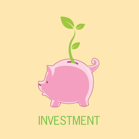 pinky: Piggy bank investment with tree leaf growth Illustration