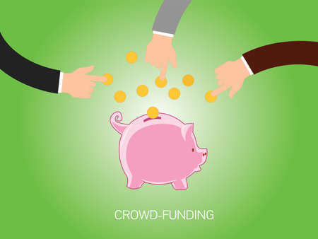 give money: Crowdfunding people give money and store or collected in piggy bank