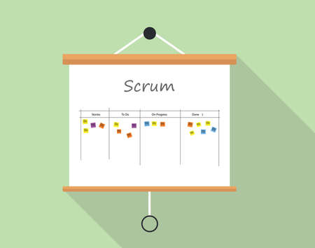 Scrum project development and managemet with presentation board illustrated