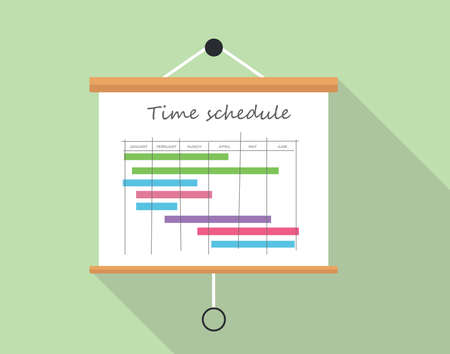 schedule: Project time schedule with presentation board illustration board