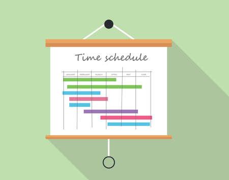 zeitplan: Projektzeitplan mit Präsentationstafel Zeichenkarton Illustration