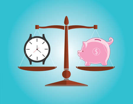 Time is money with clock watch and piggy bank vector illustration