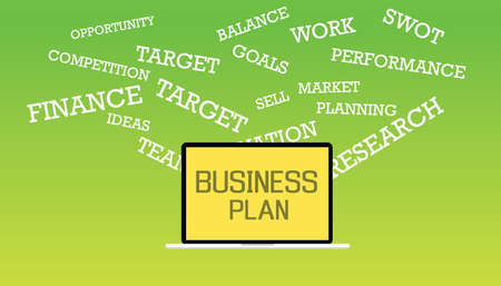 describe: Business plan illustrated with laptop and text describe business plan