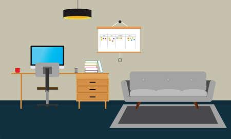 scrum: Scrum agile board with scrum board agile and workspace Illustration