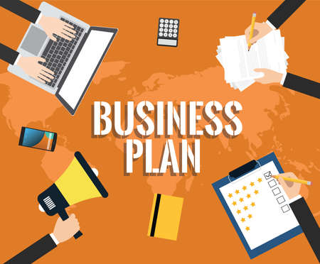 macbook: Business plan illustrated with laptop, hand, notebook, document, customer rating, pencil, business plan flat vector illustration