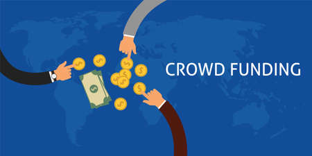 business money: Crowdfunding or collecting money from people to support a great ideas coin flat illustration vector