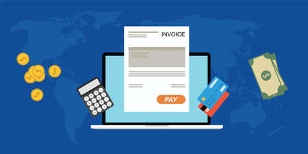 financial symbols: Online digitalinvoice laptop or notebook with calculator credit card money coins flat illustration