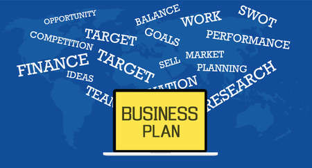 Business plan illustrated with laptop and text describe business plan