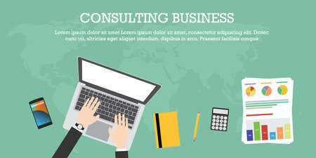 online education: consulting business world wide laptop notebook graph calculator pencil smartphone