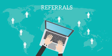 referidos: referrals business location with laptop world map people location