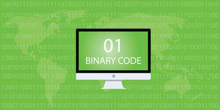 code computer: binary code computer desktop and 01 10 number