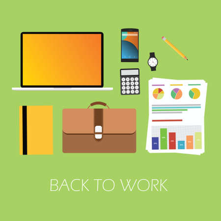 rework: back to work again suitcase graph notebook laptop notebook vector ready to work Illustration