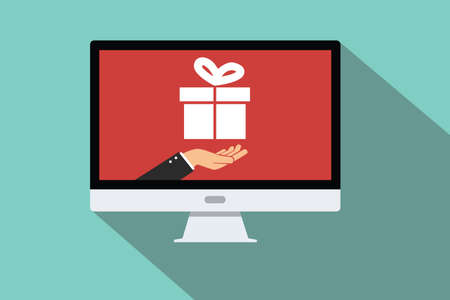 to present: package delivered buy using online transaction hand hold package prize flat