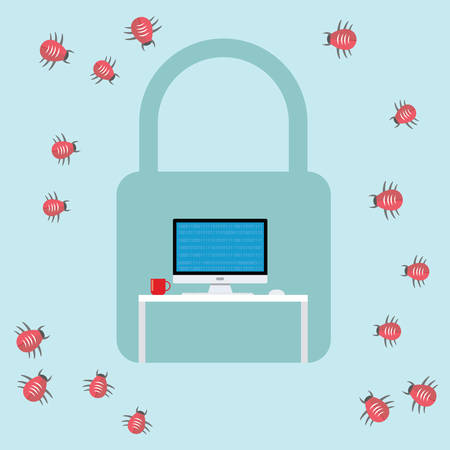 computer attack: security virus malware attack  bugs computer workspace vector