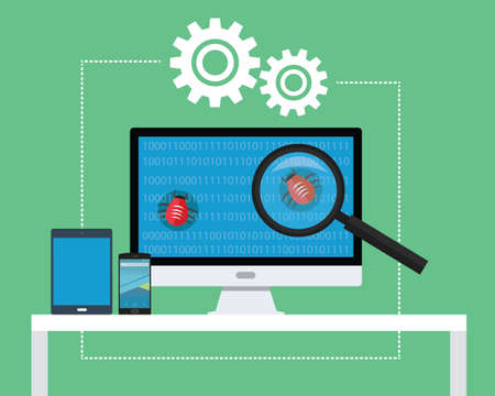 computer software: software testing all devices find bugs and tester Illustration