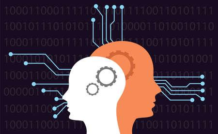 inteligencia: cabeza de la inteligencia artificial conceptos de electricidad binarios vector plana