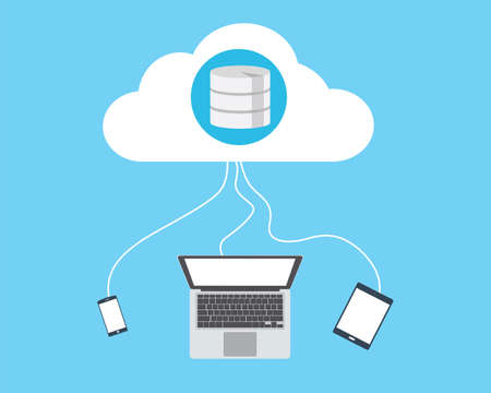 cloud database connecting laptop smartphone and tab vector flat