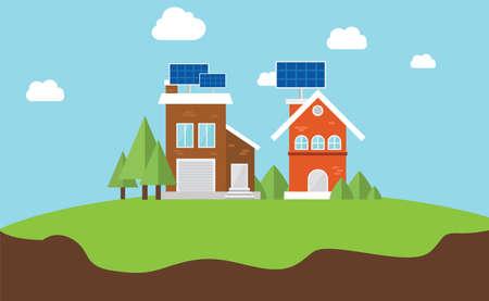 solarcity 太陽電池パネル屋上ハウス ベクトル フラット コンセプト