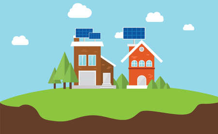 rooftops: solarcity solar panel rooftop house vector flat concept