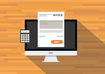 invoices: online digital invoices calculator document computer flat shadow