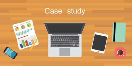 cases: case study wood work desk flat vector