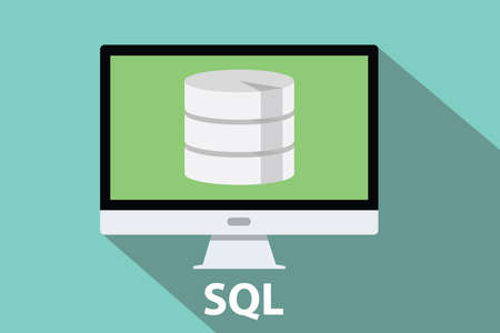 sql database computer flat long shadow vector