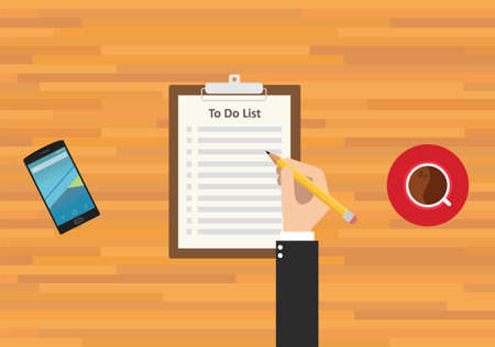 tick icon: to do list smartphone work and coffee
