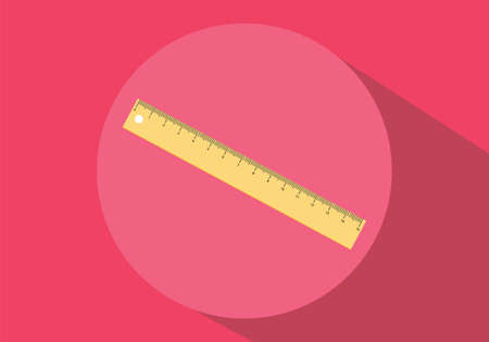 ruler isolated yellow red background flat long shadow