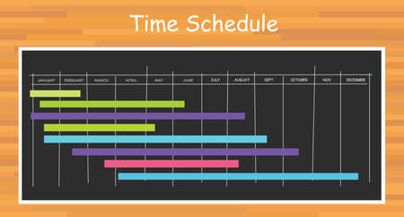 project timeline schedule month bar with blackboard board Illustration