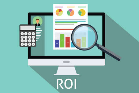 economy: roi return on investment computer calculator magnifying glass
