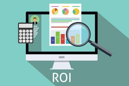 retour: roi return on investment computer rekenmachine vergrootglas