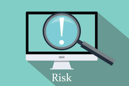 risk management: searching risk and opportunity computer pc magnifying glass flat