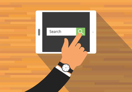 searching concept use tab or pad mobile platform Illustration