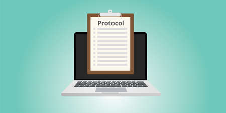 protocol: protocol concept rules in front of computer or notebook