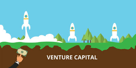 venture: venture capital get investment and launch their startup Illustration
