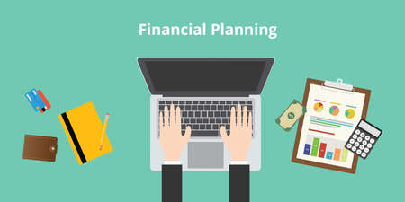 financial planning and working audit graph and data Illustration
