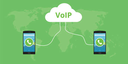 roaming: voip voice over internet protocol concept call Illustration