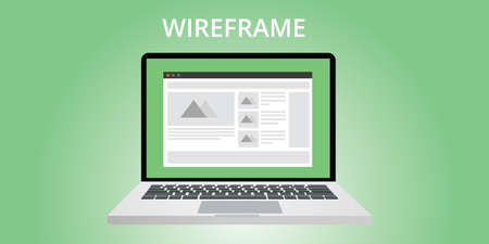 website window: website wireframe development use computer notebook Illustration