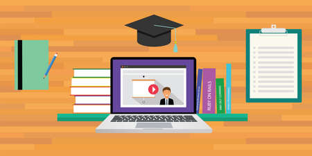 self service: online or digital learning education concept