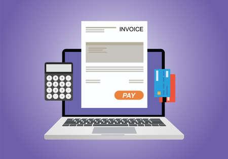 factura: factura digital en línea usando la calculadora del ordenador y de la tarjeta de crédito Vectores
