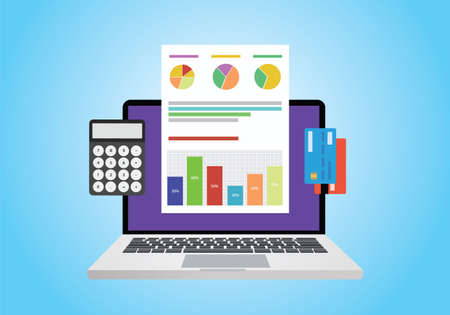 computer graph: financial report concept use computer, graph, computer and card