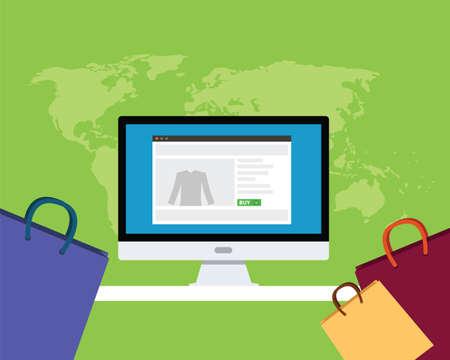 direct sale: online e-commerce concept computer shop shopping bag