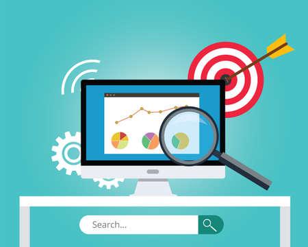 seo search engine optimization target business chart graph  イラスト・ベクター素材
