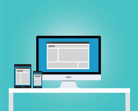 online news: online news newspaper responsive multi platform computer notebook tab pad