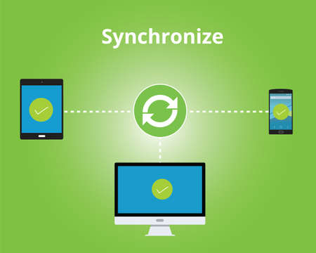 syncing: synchronize between multiple platform vector flat