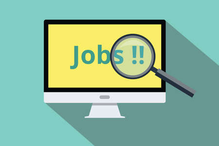 jobs: search and find online jobs use computer Illustration