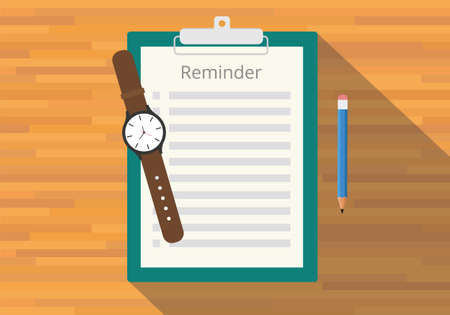 checklist: checklist clipboard reminder watch pencil flat vector