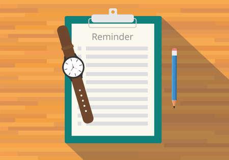 watch: checklist clipboard reminder watch pencil flat vector