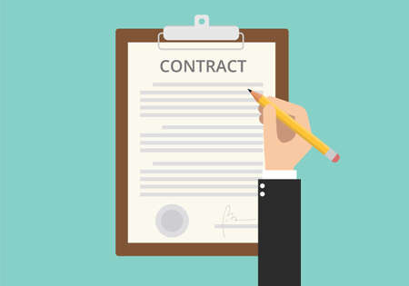 signing sign contract paper document on clipboard Illustration